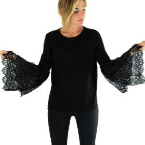 Maglia grigia con pizzo INVERSO abbigliamento firmato donna stagione autunno-inverno