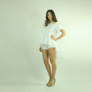T-shirt con volant e ricami INVERSO accessori pronto moda abbigliamento firmato giovane elegante donna costumi beach beachwear bikini abbigliamento donna primavera-estate inverso fashion concept