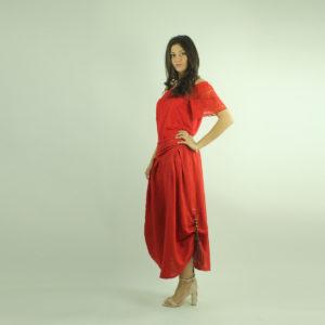 Gonna lunga colore rosso INVERSO accessori pronto moda abbigliamento firmato giovane elegante donna costumi beach beachwear bikini abbigliamento donna primavera-estate inverso fashion concept