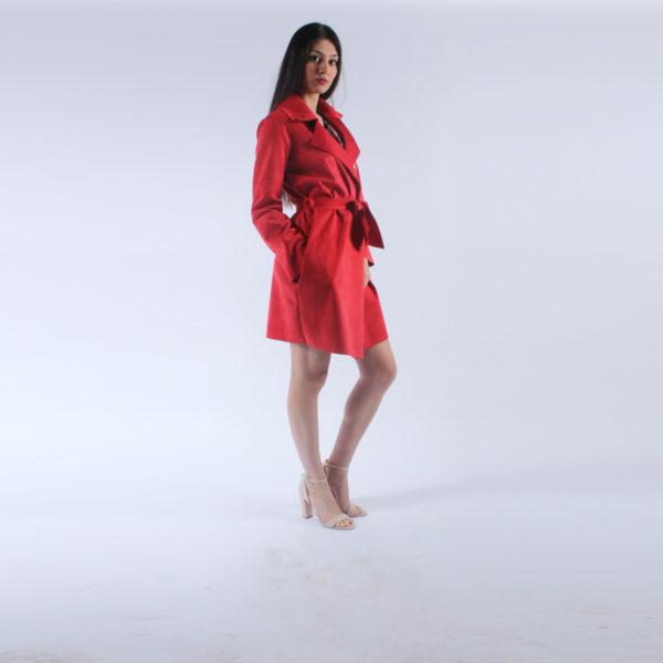 """Spolverino rosso """"INVERSO"""" abbigliamento femminile donna emilia romagna stagione primavera estate nuova collezione"""